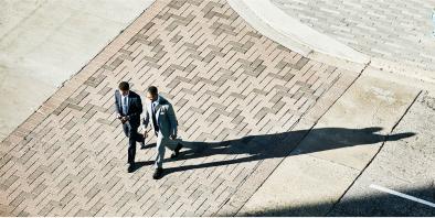 Elegant men on a walk